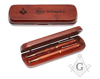 Personalized Wooden Pen Set for Freemason - Masonic Set Square Emblem Pen Gift Set - Monogrammed Pen Set for Mason - Gift for Him