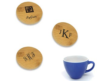 Personalized Round Wooden 6 Piece Coaster Set - Customized Bamboo Coaster Gift Set - Monogram Round Wood Coasters - Engraved Coaster Stack