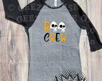 Boo Crew T-shirt Adult Raglan Baseball Tee  Vinyl Unisex Cotton Halloween Witch Pumpkin Spice Autumn Fall October Scary Ghosts