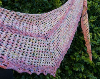 Candy Sprinkle Shawl, Scarf, Wrap, Hand-knit, Super soft Merino Wool
