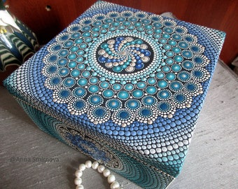 Large wooden jewelry box. Beautiful and very bright mandala is an amazing gift for someone special.