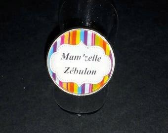 cabochon glass Mam' Missy Zebulon, multicolor, white and black