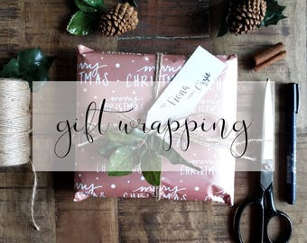 Add gift wrapping to your order with custom hand lettered gift tag!