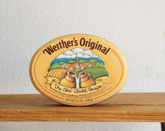 Vintage 1985 Werther's Original Collectible Tin Can Container