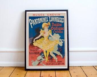 French Art Nouveau Poster Musée Grévin Pantomimes Lumineuses Théâtre Optique 1896 Advertisement High Quality Print