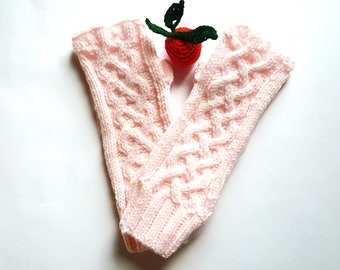 Hand knit fingerless gloves, Celtic cable knit stitch pattern gloves,Knitted gloves,  Pink cable arm warmers, Women's fingerless gloves