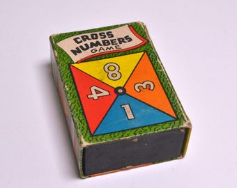Old Pocket Size Game Book, Cross Numbers Card Game, Vintage Card Game, Collectible Games, Russell Manufacturing Company, Vintage Toys
