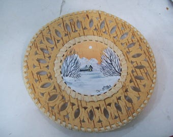 """Hand Painted Birch Bark Plate, Decorative Plate 6.5"""" Free Shipping"""