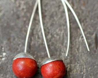Beautiful Burnt Orange Coral and  925 Silver Drop Earrings.