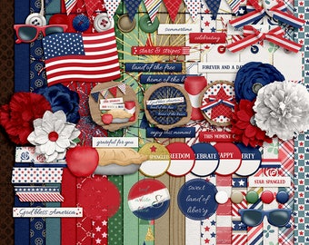 NEW- Colors of Freedom - Digital Scrapbooking Kit - 20 Papers - 60 Plus Elements - Paper Size - 12 x 12 Inches