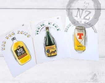 Scottish Art Print set // Scottish postcard set // Scotland Art Gift Set // Buckfast Art Print // Tennents Art Print / Maddog Print