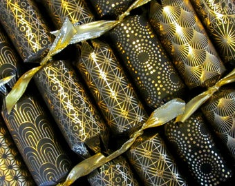 GOLD and BLACK premium luxury crackers, party poppers, we form them & you FILL them, fill your own Christmas crackers, New Year party favors