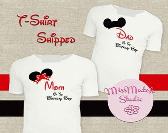 SALE Mom Dad T-Shirt Shipped!! Minnie Mickey Mouse Mom Birthday Girl Shirt DIY Iron On Digital Art Matching Pink Gold Pregnancy Announcement