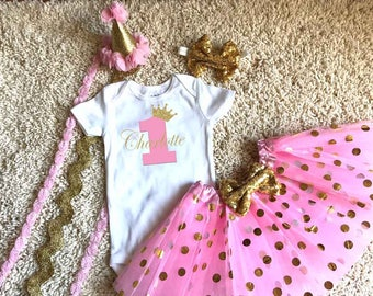 Crown Princess Birthday Shirt Girl Pink and Gold Girl Shirt Tutu Boutique Hat Personalized Matching Pink Gold Mom Birthday