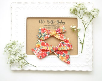 Red Fall Floral Evy Hand-tied hair bow - Baby Headband - Cotton Schoolgirl Bow - Newborn Hairbow - Nylon Headband - Toddler Hair Clip