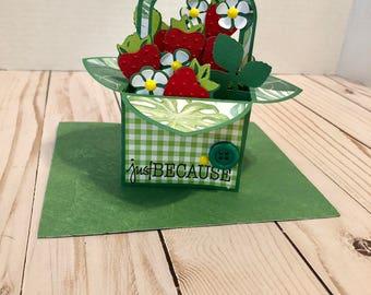 Handmade Strawberry Basket Box Card - Just BECAUSE