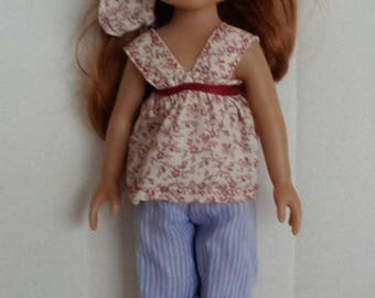 Pink and blue summer doll outfit
