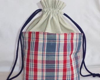 Bag, pouch in linen and cotton, decoration and storage, keeping warm