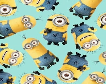 "Minions toss on Teal VIP, 43-44"" wide, 100% cotton - by the half yard"