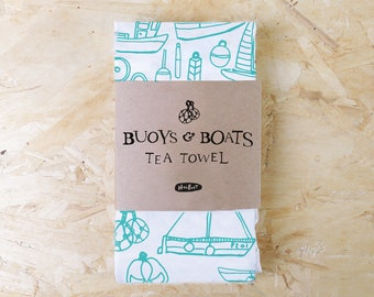 Buoys and Boats Screen Printed Tea Towel