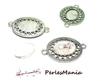 20 pieces: 10 pendant connector oval ARTY ref 276 old silver and 10 cab