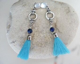 Earrings bohemian style, turquoise blue pompom