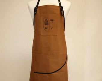 Tablier en canevas marron (toile de coton), tablier unisexe, courroie ajustable en nylon, tablier de cuisine, champignons sauvages