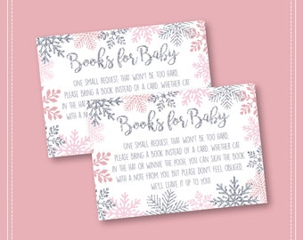 Bring a Book Snowflake Baby Shower Invitation, Book for Baby, Winter Wonderland Baby Shower Invitation, Girl Snowflake Baby Shower