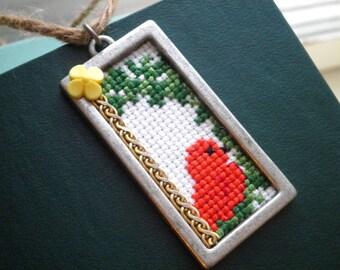 Red Bird Cross Stitch Ornament - Woodland Bird Retro Forest Animal Holiday Ornament - Little Stitched Bird & Yellow Flower Fiber Art Gift
