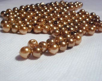 Golden brown pearl beads 8 mm x 50 beads
