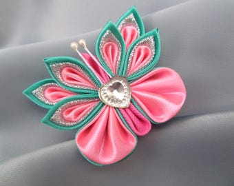 Butterfly hair clip baby fabric flower pink kanzashi beautiful small hair bow unique nice gift for girl daughter barrette hair accessories