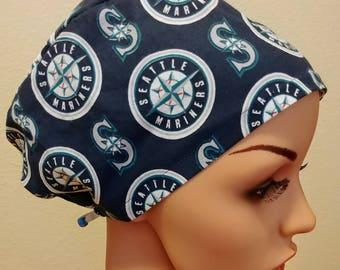 Women's Surgical Cap, Scrub Hat, Chemo Cap, Seattle Mariners Hat
