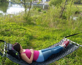 Summer outside hammock recycled from seat belts, very strong and resistant, black with colored straps, customizabile, sling, swing