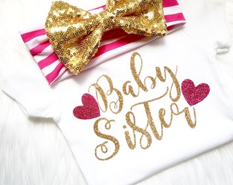 Baby sister, big sister, little sister, new baby, newborn, baby girl, baby shower, baby shower gift, birthday, Mother's Day