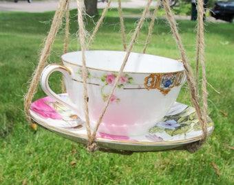 Cup Bird Feeder, Hanging Bird Feeder, Ceramic bird feeder, Unique Bird feeder, Squirrel Proof Feeder, White Bird Feeder