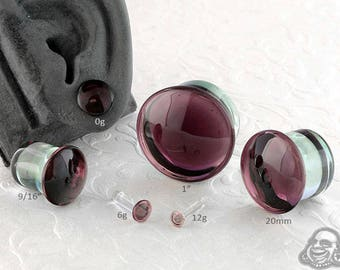 "Single Flare Purple Dome Plugs 12g, 10g, 8g, 6g, 4g, 2g, 1g, 0g, 9mm, 10mm, 7/16"", 12mm, 9/16"", 5/8"", 18mm, 20mm, 7/8"", 1"""