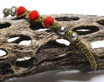 Beige macrame bracelet with red and silver beads-Christmas gift idea