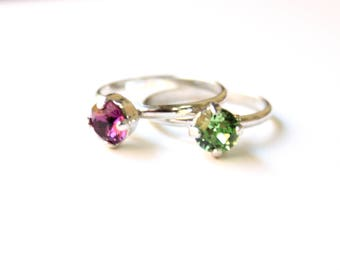 Adjustable Silver Chaton Rings w/Swarovski Crystals