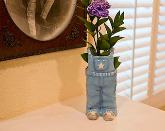 Beautiful Decorative Blue Jean Shape Ceramic Vase Overall Hand Printed