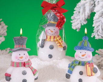 Cute And Decorative Snowman with Hat assorted Candle