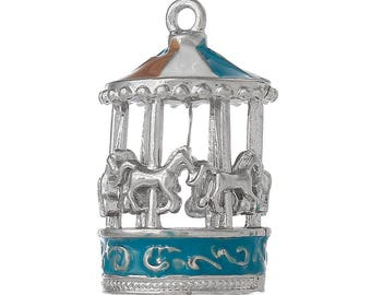 items similar to original oil painting of carousel wooden horses