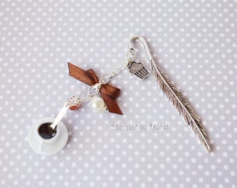 Handmade coffee cup porcelain bookmark