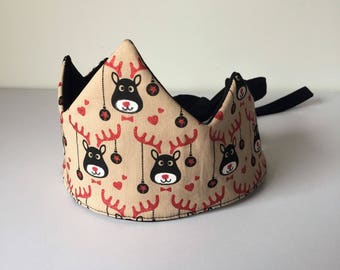 Fun Festive Christmas Fabric Crown for Christmas Day Celebrations, Christmas Photos or imaginative play - Rudolph
