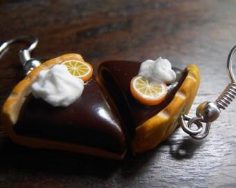 Dangle earrings - chocolate pie Parts