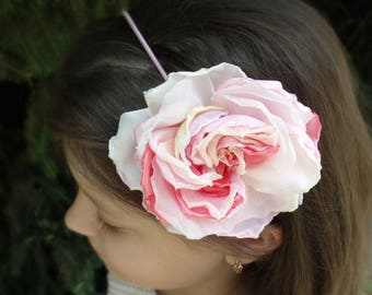 Band with a flower,Headband for the girl,rose from the fabric,summer accessory, pink, magenta, flower girl,flowers of fabric,hair elastic