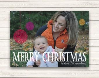 Printed Photo Christmas Cards, Single Photo Christmas Cards, Holiday Photo Cards, Merry Christmas Cards, Christmas Cards with Picture