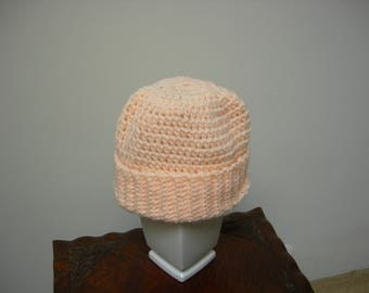Adult Crocheted Peach Orange Warm Winter Hat/Beanie/Cap, Soft and Comfortable. Winter Gift, Christmas Gift
