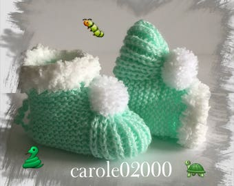 Baby booties (3 months) baby specially designed for baby, pastel green color