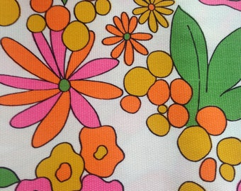 Vintage Circa 1960's-1970's Flower Power Heavy-Weight Textured Fabric--Never Used, Never Washed--Orange, Bright Pink, Green, & Gold On White