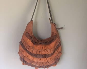 vintage leather lucky brand purse, with belt for handle, shoulder bag, soft leather , gorgeous, unique ruffle bag